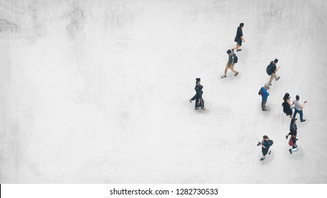 top view of people walk on white grey paint texture on background.