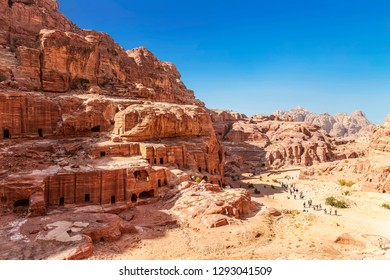 Top view of Petra - ancient city, capital of the Edomites, and later the capital of the Nabataean Kingdom, world famous tourist landmark. Jordan