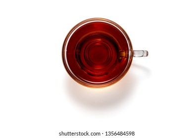 Top view photo of a black tea cup isolated on white background and clipping path