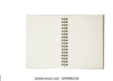 Top view photo of isolated open notebook with copy space for objects or text.