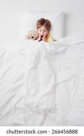 Top view photo of little scared boy under blanket with teddy bear. Concept for children's nightmares