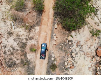 Top view Pick up truck Off Road with load bike