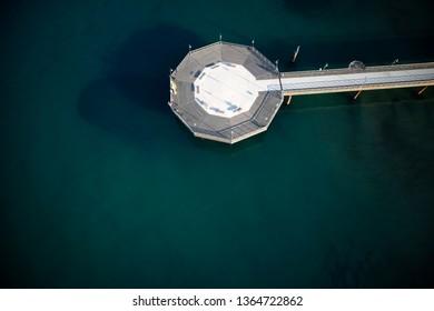 Top view of the pier of Marina di Pietrasanta in Versilia Tuscany Italy