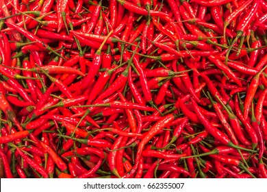 Top View Pile of Fresh Chili and Ripe Red Hot Chili in The Basket for Sale in The Vegetables Market of Bangkok, Thailand Background Texture or Template to mock up or input Text