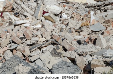Top view of a pile of rubble after demolishing a house - selective focus