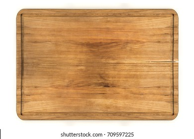 Top view of pine wooden cutting board isolated over white background