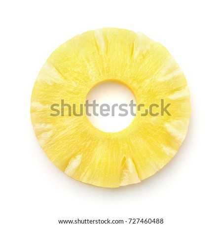 Top view of pineapple slice isolated on white