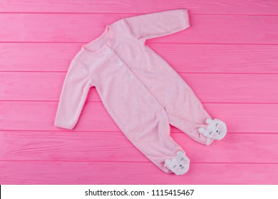 Top view pink baby pajama. Children pajamas for newborn clothes long sleeve underwear cotton costume.