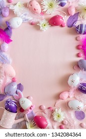 Top view of pink decoration Happy Easter holiday background arrange in heart shape, Easter concept, vertical composition