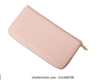 Top view of pink purse woman isolated on white background, clipping path.