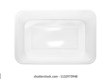 Top view of plastic food box isolated on white background