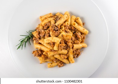 Top view of Plate of macaroni pasta with Bolognese ragu?