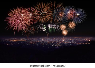 Top view point of Chiang Mai Thailand in the morning and evening, Doi Suthep road landmark location, Fire work of celebration.