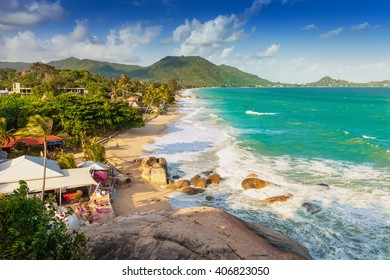 The top view from view point on the coast of Koh Samui / Thailand beach / Thailand, Ko Samui, lamai beach.