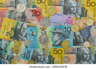 Top view of polymer Australia Banknote. Different Australian dollars money with coins