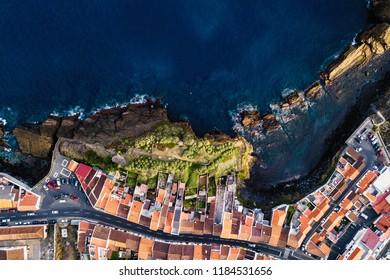 Top view of the Ponta Delgada coast, San Miguel island, Azores, Portugal.