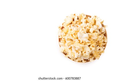 Top view ,Pop corn isolated on white background.
