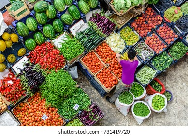 Top view of popular Melike Hatun Bazaar or kadinlar pazari(Women Bazaar) that is a traditional Turkish grocery bazaar where people buy Vegetables, fruits and spices in Konya,Turkey.28 August 2017