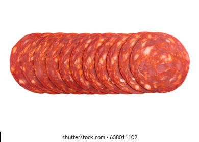 top view of pork chorizo sausages row of slices isolated on white background