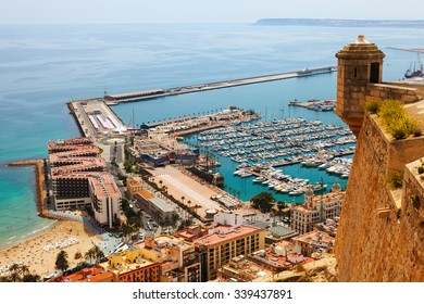 Top view of Port  in Alicante with docked ships.   Spain