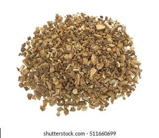 Top view of a portion of dried cut and sifted burdock root isolated on a white background.