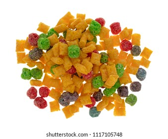 Top view of a portion of generic fruit flavored breakfast cereal isolated on a white background.