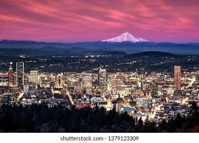 Top view of the portland city, USA skyline