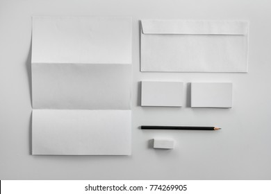 top view portrait of Corporate stationery set mockup on white background