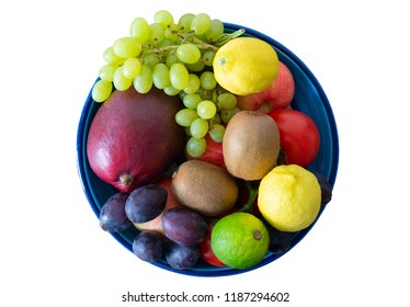 top view of pottery bowl filled with fresh fruits isolated on white background