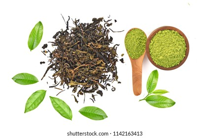 Top view of powder green tea and green tea leaf isolated on white background