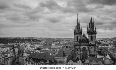Top View of Prague Old Town with Dramatic Cloud in Black and White, Czech