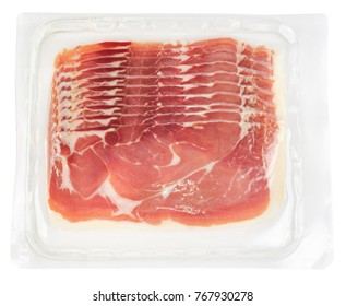 Top view of prosciutto slices in transparent vacuum plastic packaging isolated on white background
