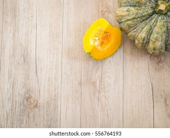 Top view pumpkin on a wooden table ( Space and composition for text )