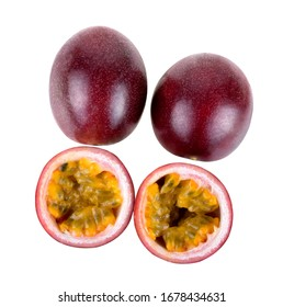Top view Purple passion fruit with cut in half isolated on white background.