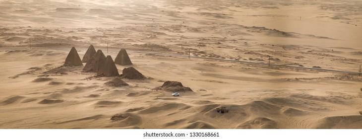 Top view of the pyramids of Karima near Nuri in Sudan, Africa