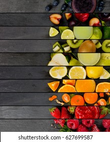 Top view of rainbow colorful mix stripes with fruit, drinks and slices; healthy eating concept