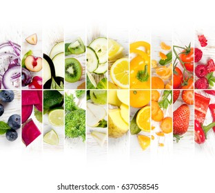 Top view of rainbow colorful mix stripes with fruits and vegetables; healthy eating concept; white space for text