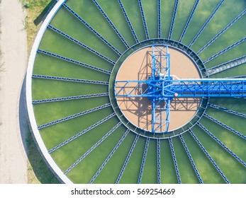 Top view of Recirculation Solid contact Clarifier Sedimentation Tank