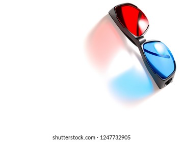 top view red and blue 3D glasses on white background with copy space