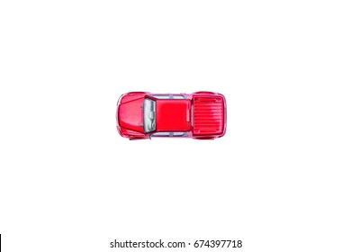 Top view of red car toy