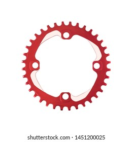 Top view of red chainring component for bicycles isolated on white background