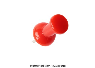 Top view of red drawing pin isolated on white with path