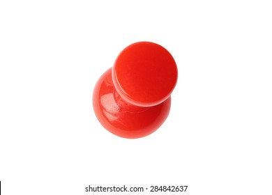 Top view of red drawing pin isolated on white with clipping path