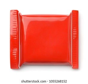 Top view of red food package bag isolated on white