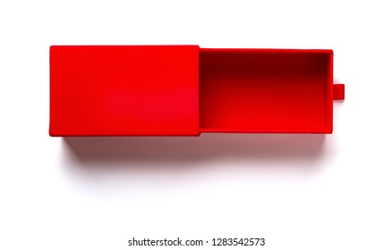 top view red gift box opened with a small gap on white background