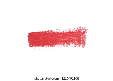 top view of red lipstick stroke isolated on white