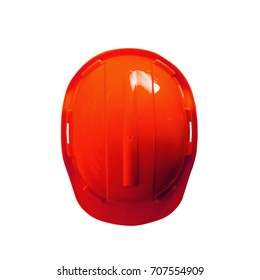 Top view Red Safety Engineer Helmet with isolated white background