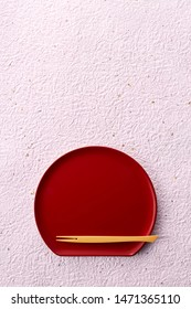 Top view red wood lacquerware tray with sweet pick  (japan style)