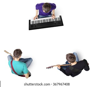 Top view of rehearsal music band with guitars and electronic piano