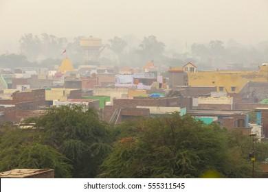 Top view of a residential house Indian village Aniyor Govardhan Parikrama Marg. India, Aniyor, November 2016